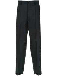 Marni Checked Print Trousers Blue