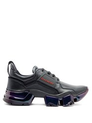 Givenchy Jaw Raised Sole Iridescent Leather Trainers Black