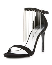 Stuart Weitzman Link Long Chain Evening Sandal Black
