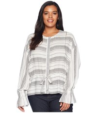 B Collection By Bobeau Plus Size Harley Woven Bomber Jacket Grey Stripe Coat Multi