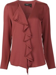 Theory Ruffled Blouse Red