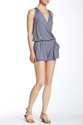 Michael Stars Sleeveless Surplice Romper Gray