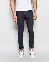 Solid Skinny Fit Stretch Jeans In Indigo Blue
