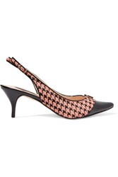 Lucy Choi London Yorick Patent Leather Trimmed Houndstooth Printed Calf Hair Slingback Pumps Antique Rose