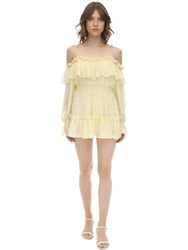 Alice Mccall Ruffled Silk Blend Plumetis Mini Dress Yellow