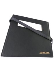 Jacquemus Angled Logo Plaque Clutch Women Leather One Size Black