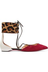 Christian Louboutin Corsankle Leopard Print Calf Hair Red