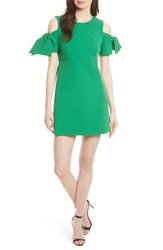 Milly Women's Stretch Crepe Cold Shoulder Minidress Emerald Green