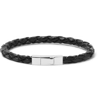 Tateossian Woven Leather Sterling Silver Bracelet Black