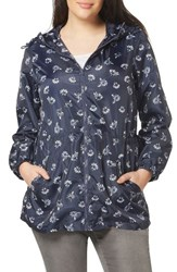 Evans Plus Size Women's Daisy Print Hooded Raincoat Navy