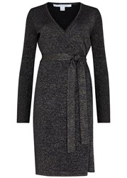 Diane Von Furstenberg Evelyn Silver Wool Blend Wrap Dress Metallic Silver
