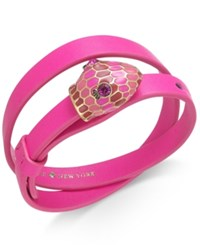 Kate Spade New York Gold Tone Crystal And Enamel Snake Head Leather Wrap Bracelet Pink