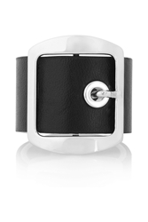 Givenchy Ring In Black Leather And Palladium Tone Brass