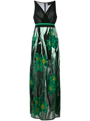 Christian Pellizzari Metallic Floral Print Dress Women Silk Polyamide Polyester Polyimide 46 Green