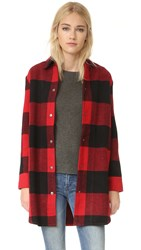 Bb Dakota Olive Buffalo Plaid Oversized Coat Cherry Red