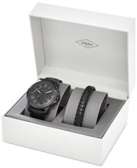 Fossil Men's Chronograph Grant Black Leather Strap Watch And Bracelet Box Set 45Mm Fs5147set