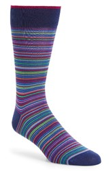 Bugatchi Men's Stripe Socks Navy