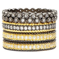 Freida Rothman Two Tone Classic Set Of 5 Rings Multi