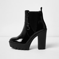 River Island Womens Black Chunky Patent Boots