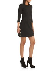 Trina Turk Solid Tropical Studded Ponte Dress Black