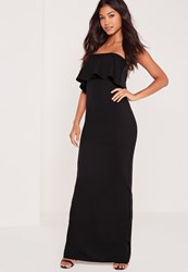Missguided Bandeau Frill Maxi Dress Black Black
