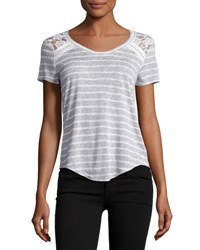 Madison And Berkeley Lace Trim Striped Top Gray