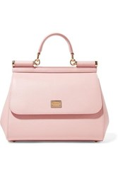 Dolce And Gabbana Sicily Medium Textured Leather Tote Baby Pink
