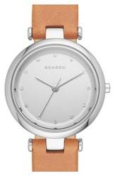 Women's Skagen 'Tanja' Leather Strap Watch 30Mm