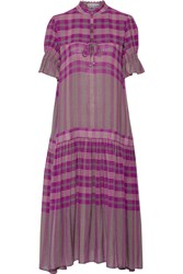 Apiece Apart Los Altos Printed Voile Midi Dress Magenta