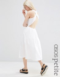 Asos Petite Midi Skater Dress With Cross Back White