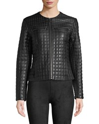 Cole Haan Quilted Collarless Leather Moto Jacket Black