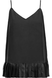 Equipment Layla Pleated Washed Silk And Silk Blend Satin Camisole Black