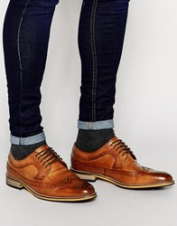 Asos Brogue Shoes In Tan Polished Leather Tan