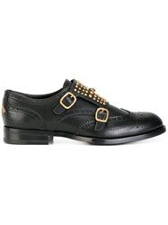 Gucci Studded Monk Strap Shoes Black