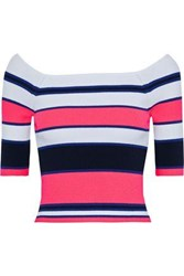 Autumn Cashmere Woman Cropped Striped Stretch Knit Top Pink
