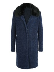 Basler Wool Coat With Faux Fur Collar Navy