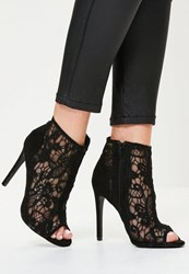 Missguided Black Lace Peep Toe Heeled Ankle Boots