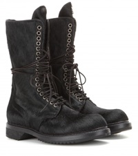 Rick Owens Army Pony Hair Boots Black