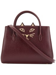 Charlotte Olympia Feline Petit Poitier Tote Bag Red