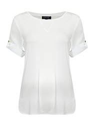 Episode Rolled Sleeve Round Neck Top White