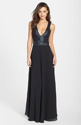 Women's Dress The Population 'Delani' Sequin Crepe Gown Black