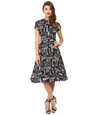 Unique Vintage Cap Sleeve Cut Out Swing Dress Black White Print Women's Dress Animal Print