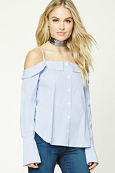 Forever 21 Contemporary Pinstripe Top Ivory Blue