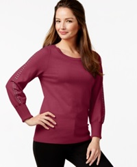 Alfani Embellished Sleeve Sweater Only At Macy's New Burgundy