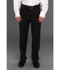 Perry Ellis Classic Fit Double Pleat Micro Melange Pant Caviar Men's Dress Pants Black