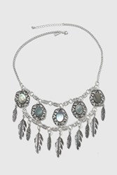 Topshop Mega Abalone Style Feather Chocker Necklace Silver