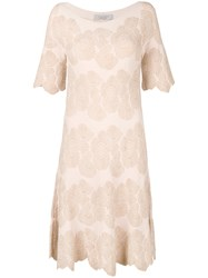 D.Exterior Floral Embroidered Midi Dress Nude And Neutrals