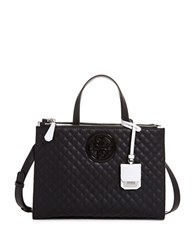 Guess G Lux Quilted Satchel Bag Black