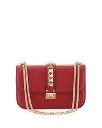 Lock Rockstud Trim Flap Bag Red Valentino