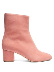 Brother Vellies Kaya Block Heel Suede Ankle Boots Light Pink